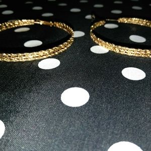 Jewelry - Triple Encrusted Link Hoop earrings